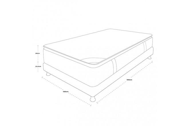 KOMBO SPRING: Colchón Sencillo 100 x 190 cm Pillow top + Base Cama Salin Completa