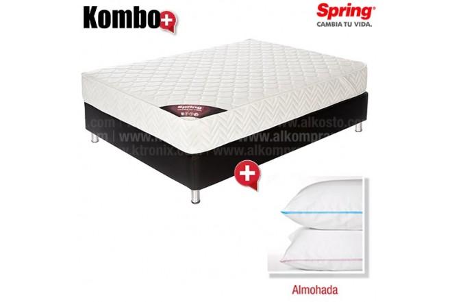 KOMBO: Colchón de Resorte SPRING Emotion New One 1 Doble GRATIS 2 Almohadas