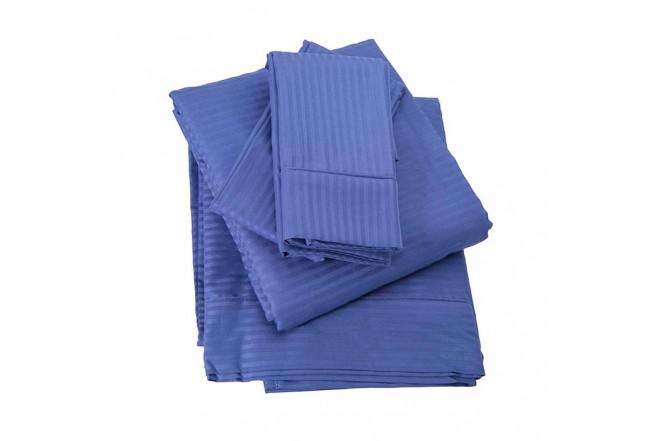 Juego de Cama Doble KAMUCHY Saten 250 Hilos Azul
