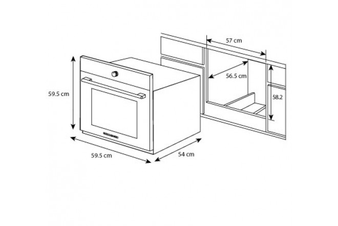 Horno de empotrar challenger 60 hg2545 gn120v alkosto for Medidas de hornos pequenos