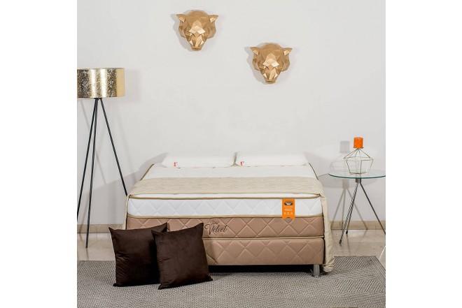 KOMBO ROMANCE RELAX: Colchon Espumado Queen Velvet 160 X 190 + Base cama Dividida