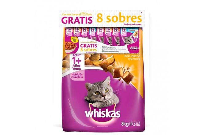 Whiskas Pollo/Leche 8Kg + 8 Sobres de alimento húmedo