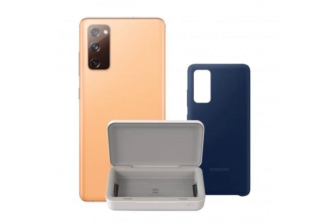 Celular SAMSUNG Galaxy S20 FE 128GB Naranja +UV STERILIZER + Silicone Cover Azul-1