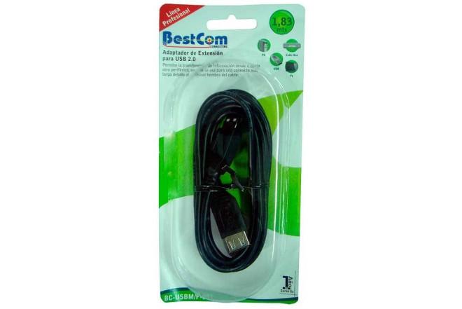 Cable Extensión USB 2.0 BESTCOM  Macho a Hembra Negro de 1.83 Mts