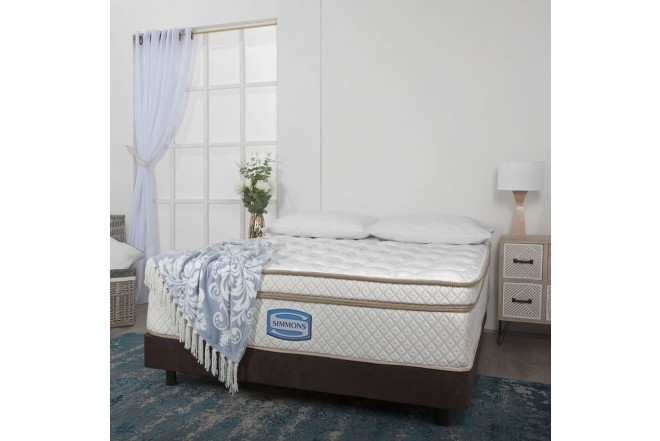 KOMBO SIMMONS: Colchón Resortado Doble Bellamy Unitop 140 x 190 cm + Base Cama