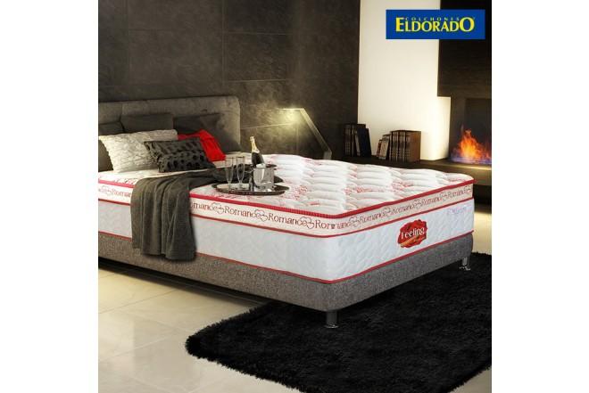KOMBO ELDORADO: Colchón Feeling Romance Extradoble + Base cama Negra