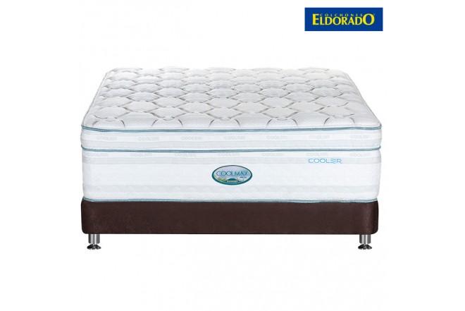 KOMBO ELDORADO: Colchón Coolmax Extradoble + Base cama Chocolate
