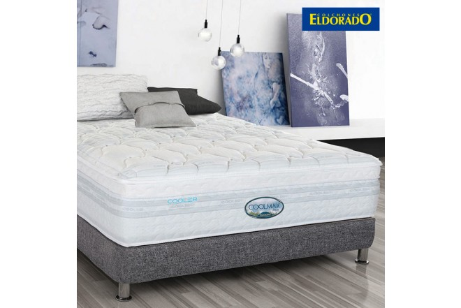 KOMBO ELDORADO: Colchón Coolmax Semidoble + Base cama Negro