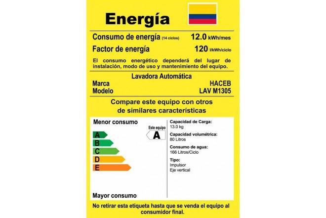 Lavadora HACEB 13KG M1305OX Blanco3