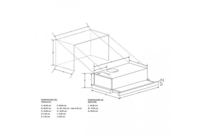Campana retráctil tipo mueble 60cm WHIRLPOOL WAG60AFHWF Acero Inoxidable 22