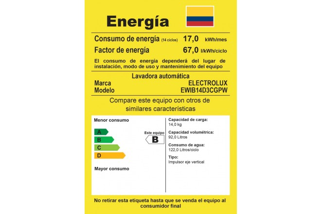 Lavadora ELECTROLUX 14 Kg EWIB14D3CG BTM