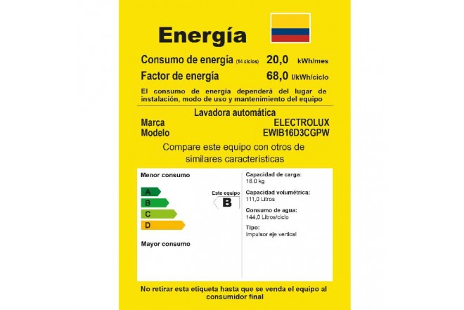 "Lavadora ELECTROLUX 16Kg EWIB16D3CGW""BTT"