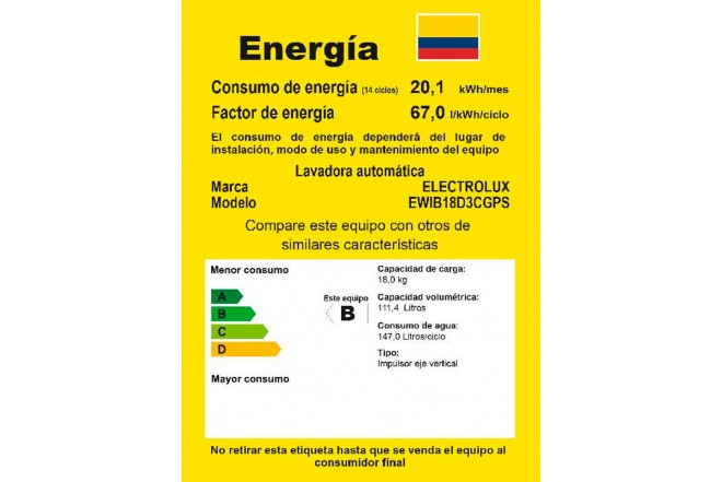 Lavadora ELECTROLUX 18Kg EWIB18D3CS Gris4