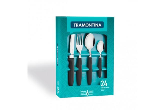 Juego TRAMONTINA x 24 Piezas de Cubiertos Ipanema Negro