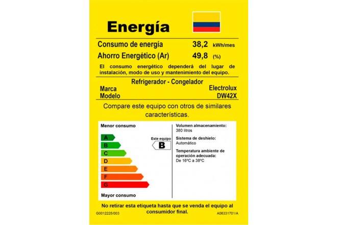 Nevera ELECTROLUX 380Lts DW42X No Frost Inox10