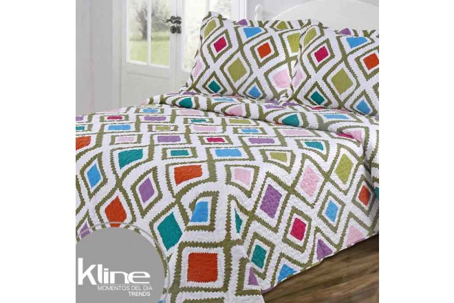 Cubrecama King K-LINE Rombos Multicolor estampado microfibra 100%