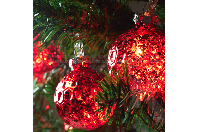 Guirnalda De Luz Con Esfera 6 cm Roja