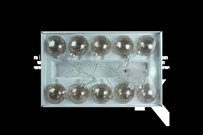 Guirnalda De Luz Con Esfera 7 cm Plateada