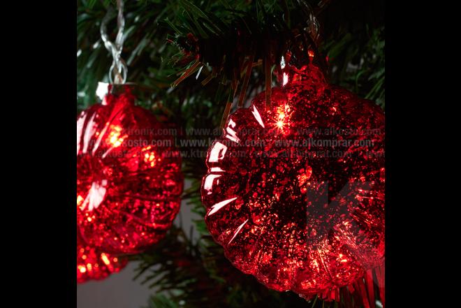 Guirnalda De Luz Con Esfera Plana 8 cm Roja