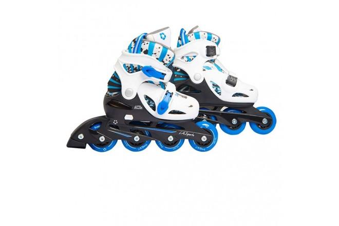 L.A. SPORTS Kit de patinaje en línea 36 a 40 Azul y Blanco