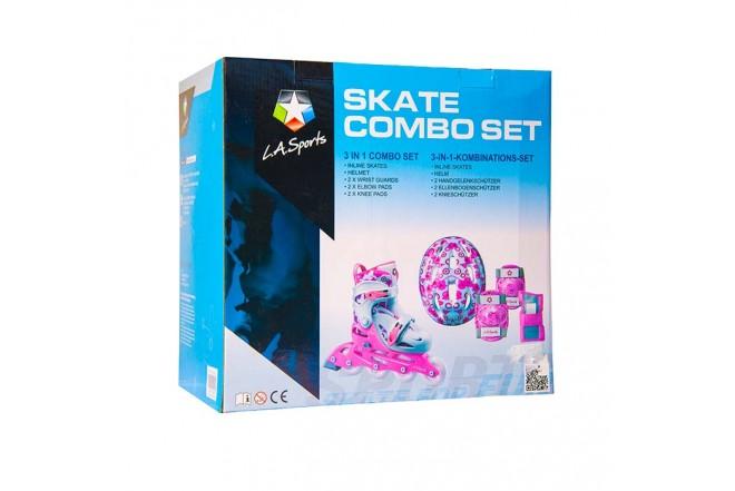 Kit de patinaje en línea L.A. Sports 31 a 35 Rosado y Blanco