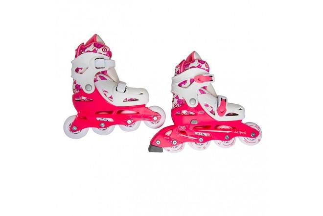 Kit de patinaje en línea L.A. Sports 36 a 40 Rosado y Blanco