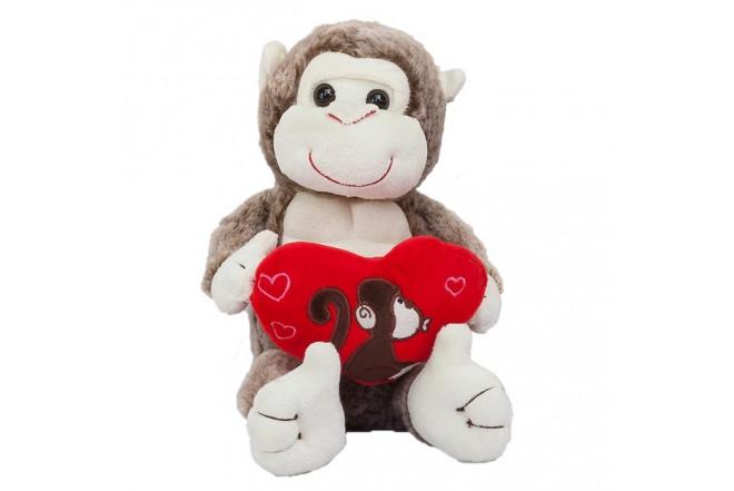 """SUTEX Peluche de Mono con Corazón de 10.5"""""""