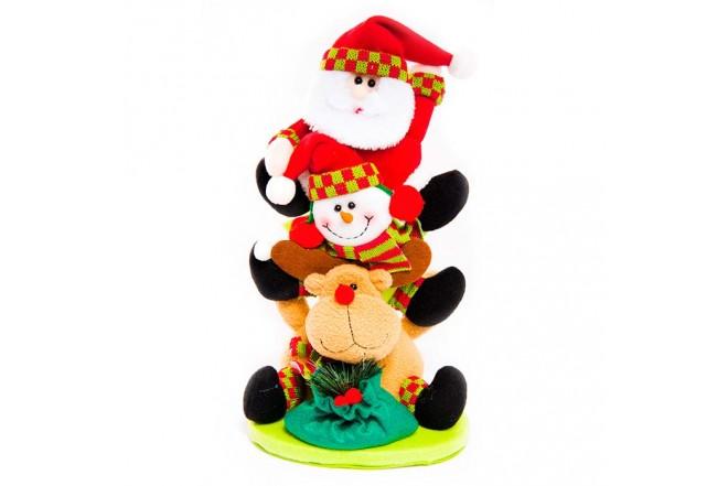 NAVIDAD Santa con Muñeco de nieve y Reno de 14 cm