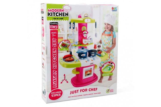 SFL Set luxury kitchen niñas fucsia-verde