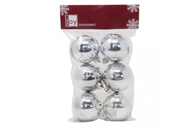 NAVIDAD Set de 6 Esferas Plateadas Decoradas de 6 cm