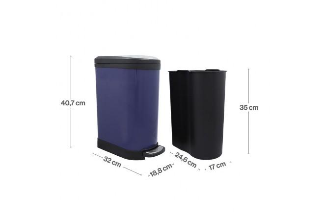 Papelera de Pedal/Caneca de basura FREE HOME Azul Oscuro - 10 Litros (Canecas)-4
