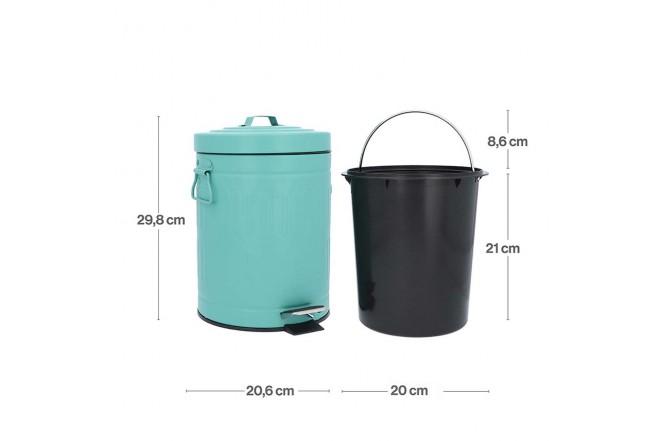 Papelera de Pedal/Caneca de basura Verde Menta - 5 Litros (Canecas)-4