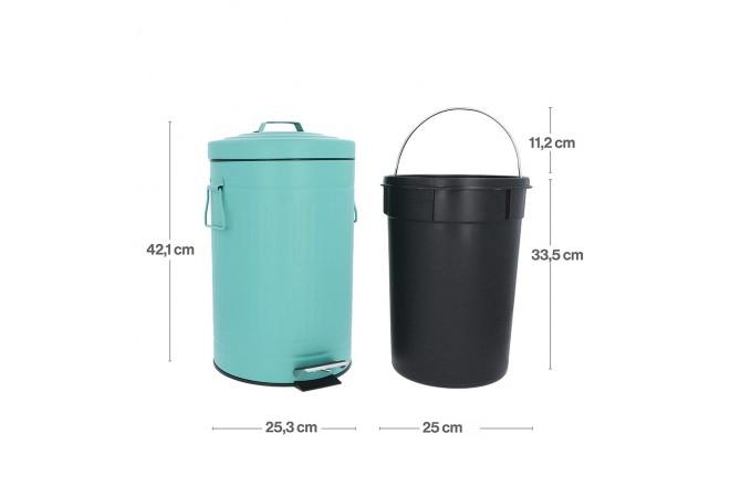 Papelera de Pedal/Caneca de basura FREE HOME Agua Marina - 12 Litros (Canecas)-4