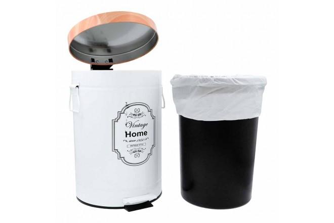 Papelera de Pedal/Caneca de basura FREE HOME Blanco/Madera - 12 Litros (Canecas)-3
