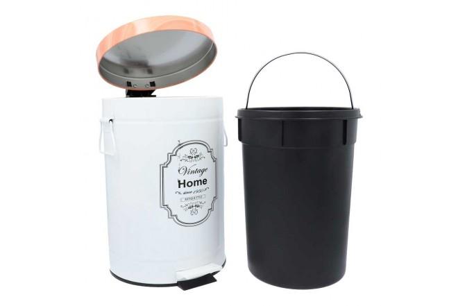 Papelera de Pedal/Caneca de basura FREE HOME Blanco/Madera - 12 Litros (Canecas)-2