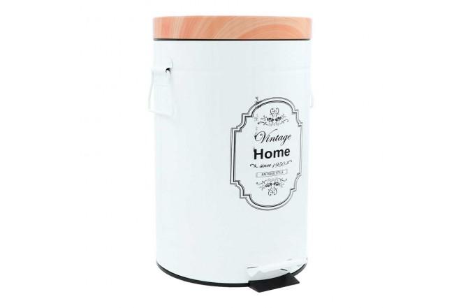 Papelera de Pedal/Caneca de basura FREE HOME Blanco/Madera - 12 Litros (Canecas)-1