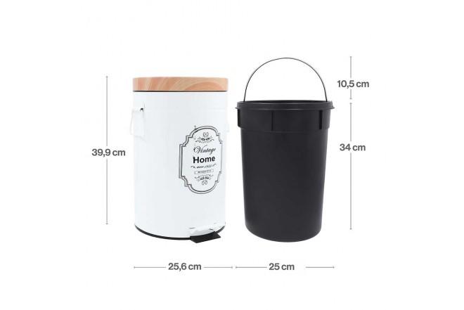 Papelera de Pedal/Caneca de basura FREE HOME Blanco/Madera - 12 Litros (Canecas)-4