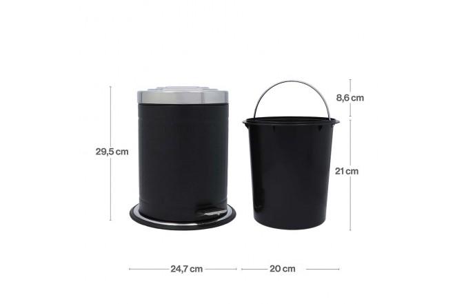 Papelera de Pedal/Caneca de basura FREE HOME Negro Mate - 5 Litros (Canecas)-4