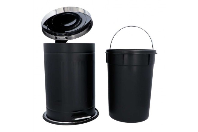 Papelera de Pedal/ Caneca de basura FREE HOME Negro Mate - 12 Litros (Canecas)-2