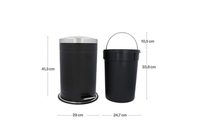 Papelera de Pedal/ Caneca de basura FREE HOME Negro Mate - 12 Litros (Canecas)-4