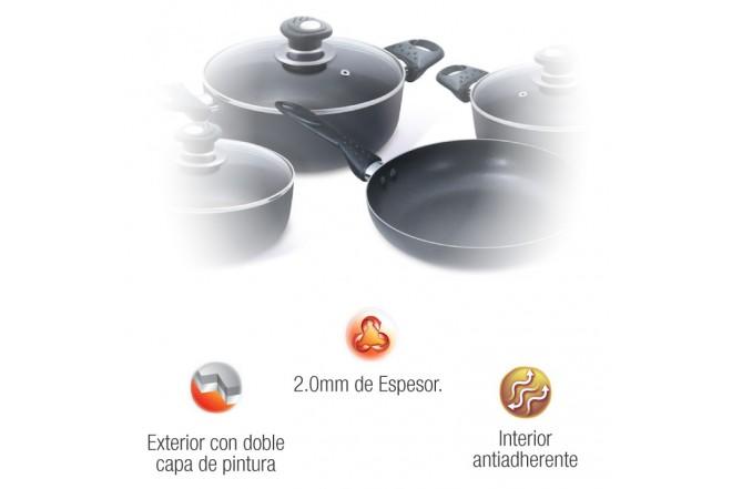 Batería de ollas OSTER 7 Piezas Práctica Negra OS-16762