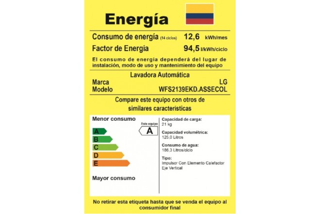 Lavadora LG 21KG WFS2139EKD