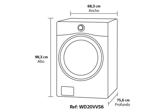 Lavadora / Secadora LG CF 20 Kg WD20VVS6 Silver