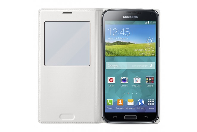 Funda S View Cover SAMSUNG para Galaxy S5 blanca