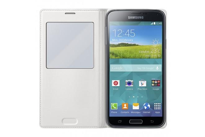 Funda S View Cover SAMSUNG para Galaxy S5 blanca