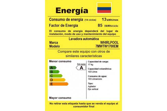 Lavadora WHIRLPOOL 17Kg 7MWTW1700EM Blanco6