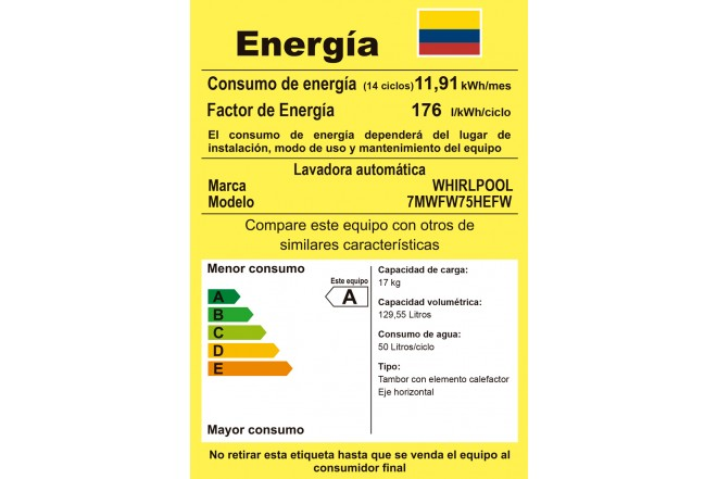 Lavadora WHIRLPOOL CF17Kg7MWFW75HEFW etiqueta RETIQ