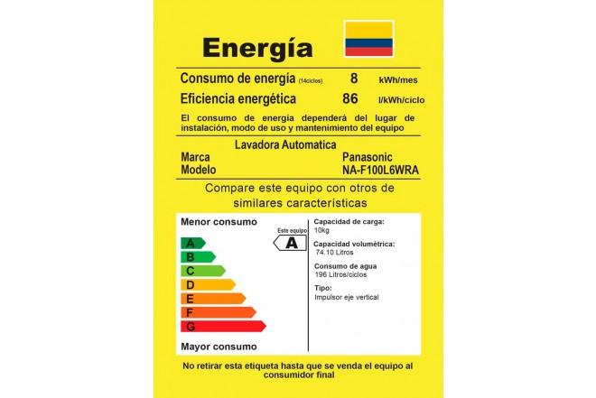 Lavadora PANASONIC 10.5 Kg F100L6 Blanco5