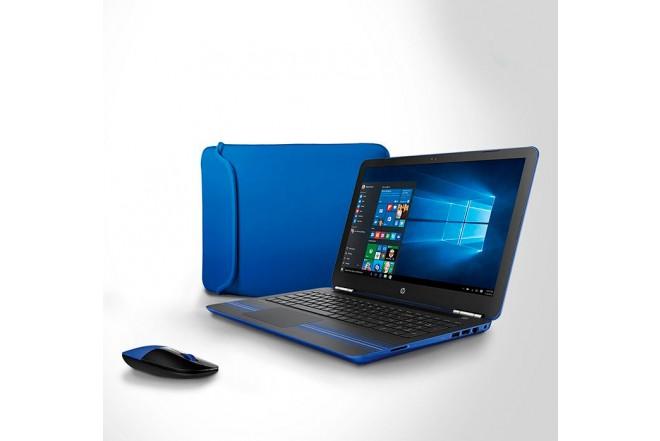 """Combo Portátil HP AW002 15"""" A10 Azul + Mouse + Funda"""