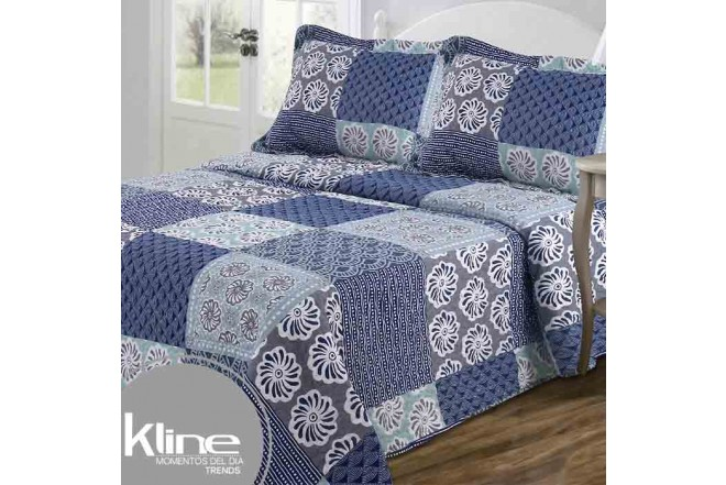 Cubrecama Doble K-LINE Flores y Ondas Azules estampado microfibra 100%